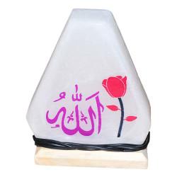 Üçgen Şekilli Allah Lafzı Logolu Doğal Kaya Tuzu Lambası Kablolu Ampullü Beyaz 1-2 Kg - Thumbnail