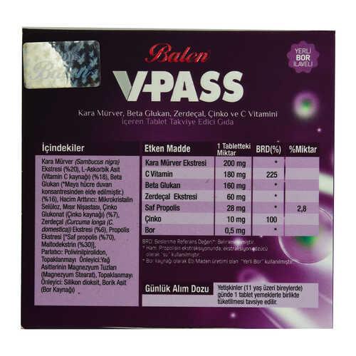 V-Pass Kara Mürverli Zerdeçallı Çinko ve C Vitaminli 1000 Mg X 30 Tablet